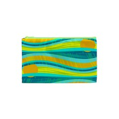 Yellow and blue decorative design Cosmetic Bag (XS)