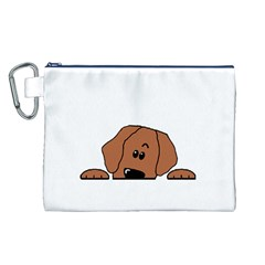 Peeping Rhodesian Ridgeback Canvas Cosmetic Bag (L)