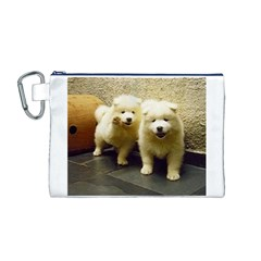 2 Samoyed Puppy Canvas Cosmetic Bag (M)
