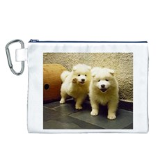 2 Samoyed Puppy Canvas Cosmetic Bag (L)