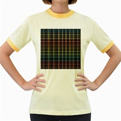 Neon plaid design Women s Fitted Ringer T-Shirts