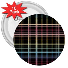 Neon plaid design 3  Buttons (10 pack)
