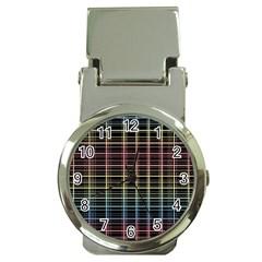 Neon plaid design Money Clip Watches