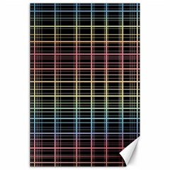 Neon plaid design Canvas 24  x 36
