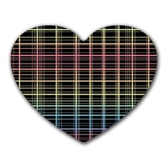 Neon plaid design Heart Mousepads
