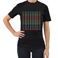 Neon plaid design Women s T-Shirt (Black)