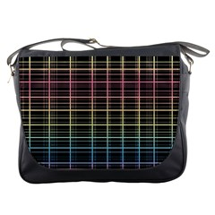 Neon plaid design Messenger Bags