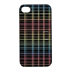 Neon plaid design Apple iPhone 4/4S Hardshell Case with Stand