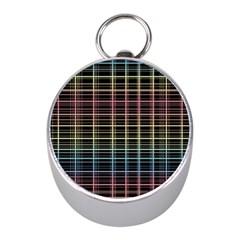 Neon plaid design Mini Silver Compasses