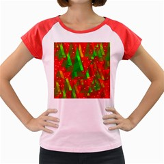 Xmas trees decorative design Women s Cap Sleeve T-Shirt