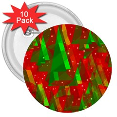 Xmas trees decorative design 3  Buttons (10 pack)