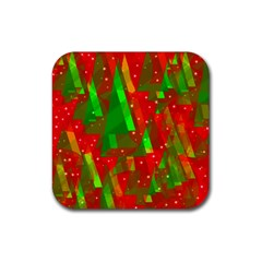 Xmas trees decorative design Rubber Coaster (Square)