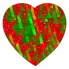 Xmas trees decorative design Jigsaw Puzzle (Heart)