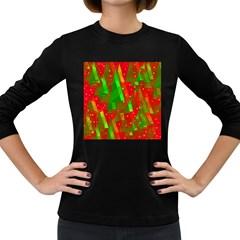 Xmas trees decorative design Women s Long Sleeve Dark T-Shirts