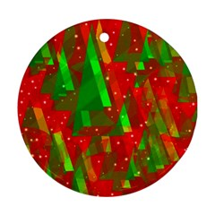 Xmas trees decorative design Round Ornament (Two Sides)