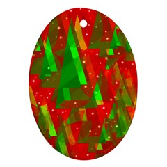 Xmas trees decorative design Oval Ornament (Two Sides)