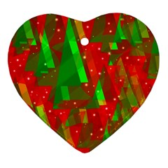 Xmas trees decorative design Heart Ornament (2 Sides)