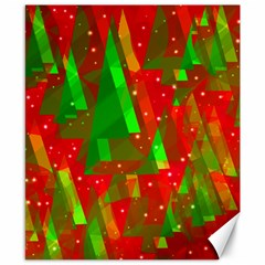 Xmas trees decorative design Canvas 8  x 10