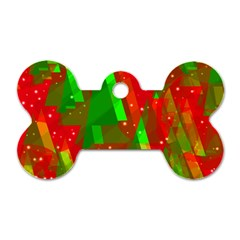 Xmas trees decorative design Dog Tag Bone (One Side)