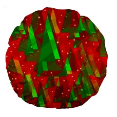Xmas trees decorative design Large 18  Premium Round Cushions