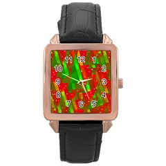 Xmas trees decorative design Rose Gold Leather Watch