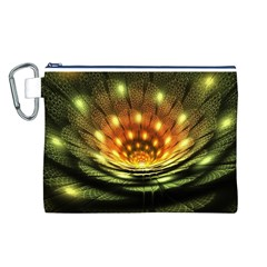 3d Abstract Flower Lotus Fractal Canvas Cosmetic Bag (L)