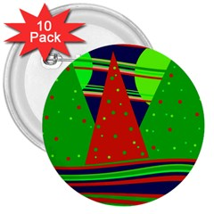 Magical Xmas night 3  Buttons (10 pack)