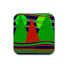 Magical Xmas night Rubber Square Coaster (4 pack)