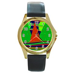 Magical Xmas night Round Gold Metal Watch