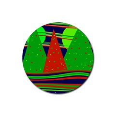 Magical Xmas night Rubber Round Coaster (4 pack)