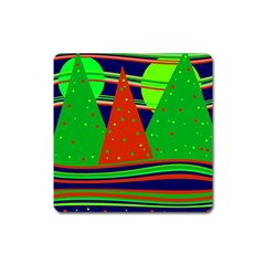 Magical Xmas night Square Magnet