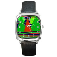 Magical Xmas night Square Metal Watch