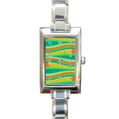Green and orange decorative design Rectangle Italian Charm Watch