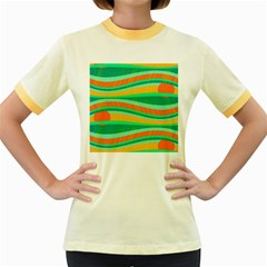 Green and orange decorative design Women s Fitted Ringer T-Shirts