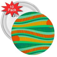 Green and orange decorative design 3  Buttons (10 pack)