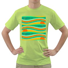 Green and orange decorative design Green T-Shirt