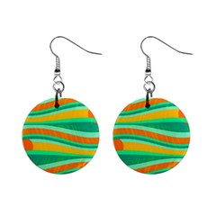 Green and orange decorative design Mini Button Earrings