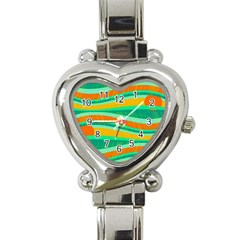 Green and orange decorative design Heart Italian Charm Watch
