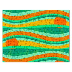 Green and orange decorative design Rectangular Jigsaw Puzzl