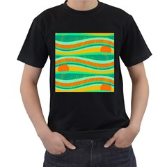 Green and orange decorative design Men s T-Shirt (Black) (Two Sided)