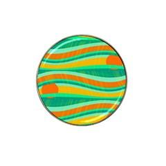 Green and orange decorative design Hat Clip Ball Marker (4 pack)
