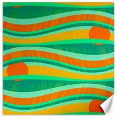 Green and orange decorative design Canvas 12  x 12