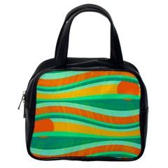 Green and orange decorative design Classic Handbags (One Side)