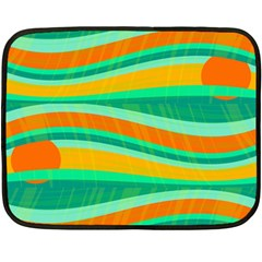 Green and orange decorative design Double Sided Fleece Blanket (Mini)