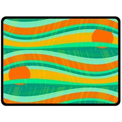 Green and orange decorative design Fleece Blanket (Large)