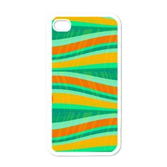 Green and orange decorative design Apple iPhone 4 Case (White)