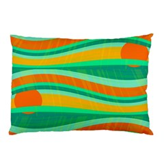 Green and orange decorative design Pillow Case (Two Sides)