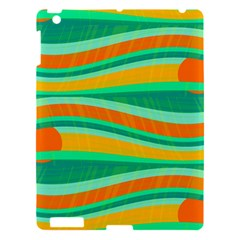 Green and orange decorative design Apple iPad 3/4 Hardshell Case