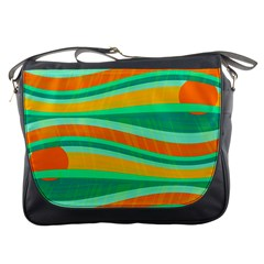 Green and orange decorative design Messenger Bags