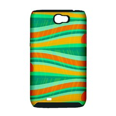 Green and orange decorative design Samsung Galaxy Note 2 Hardshell Case (PC+Silicone)